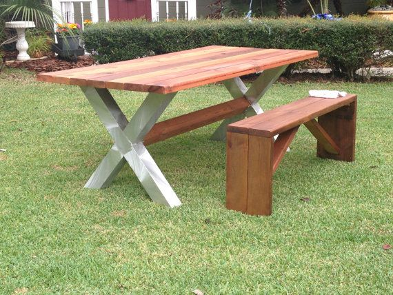 IndoorOutdoor Patio Table with Matching benches on Etsy, $1,38122