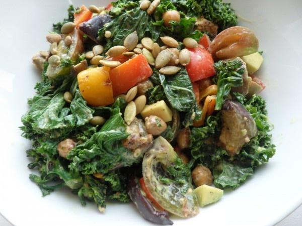 kale salad with miso/tahini dressing | Sides & Salads | Pinterest