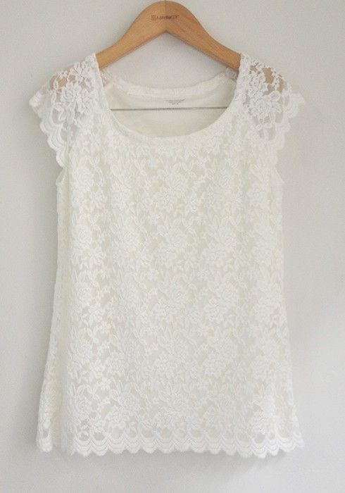 white lace floral collarless short sleeve lace t shirt