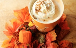 pumpkin spice latte with salted caramel whipped cream and sprinkled ...