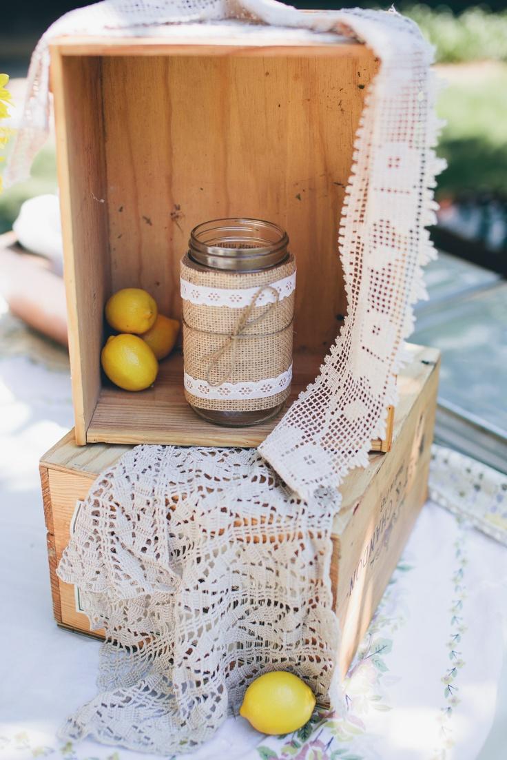 DIY burlap and lace wedding decor