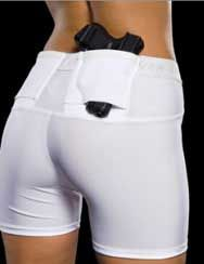 Compression Shorts with a Built In Holster for Running at Night.......I think every girl needs one of these. Bad ass.