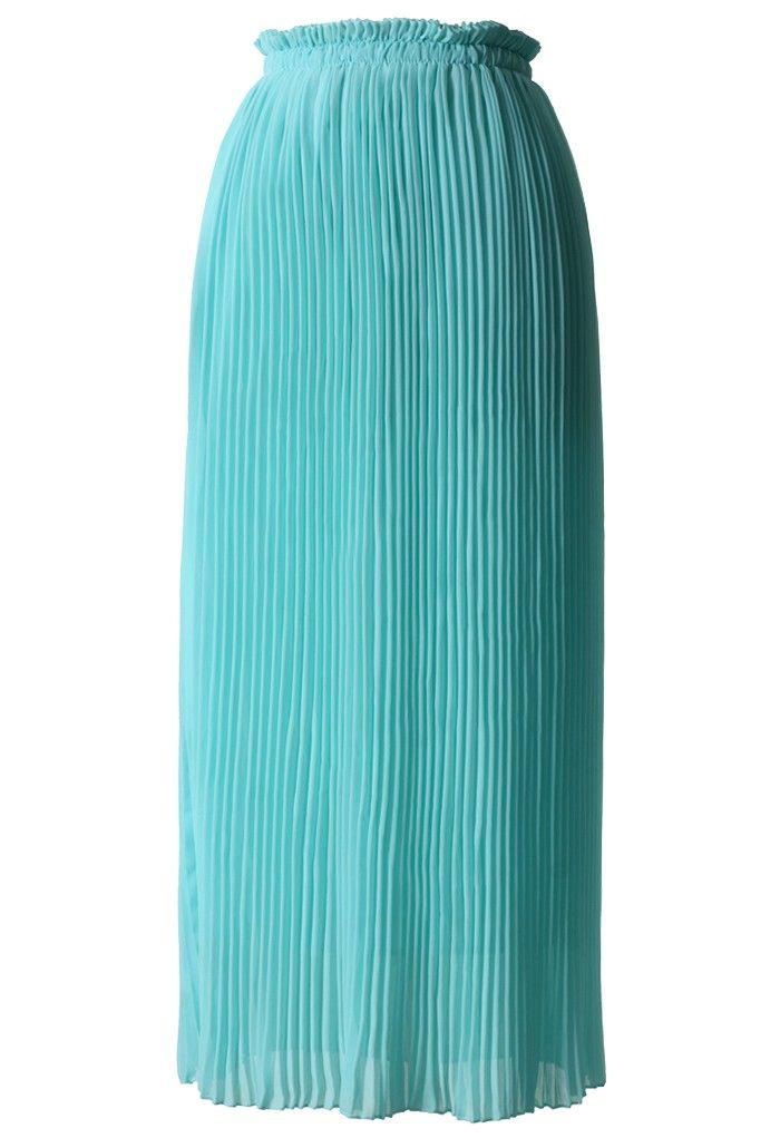 mint blue chiffon pleated maxi skirt skirt collection