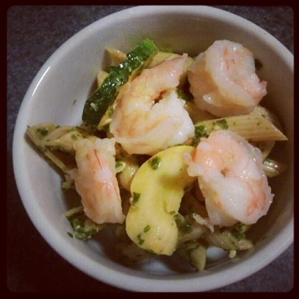 ... dinner: whole grain pasta,summer veggies, kale pesto & shrimp