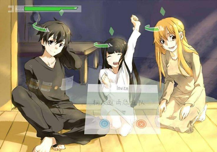 Sword art online kirito asuna and yui anime and manga my obses