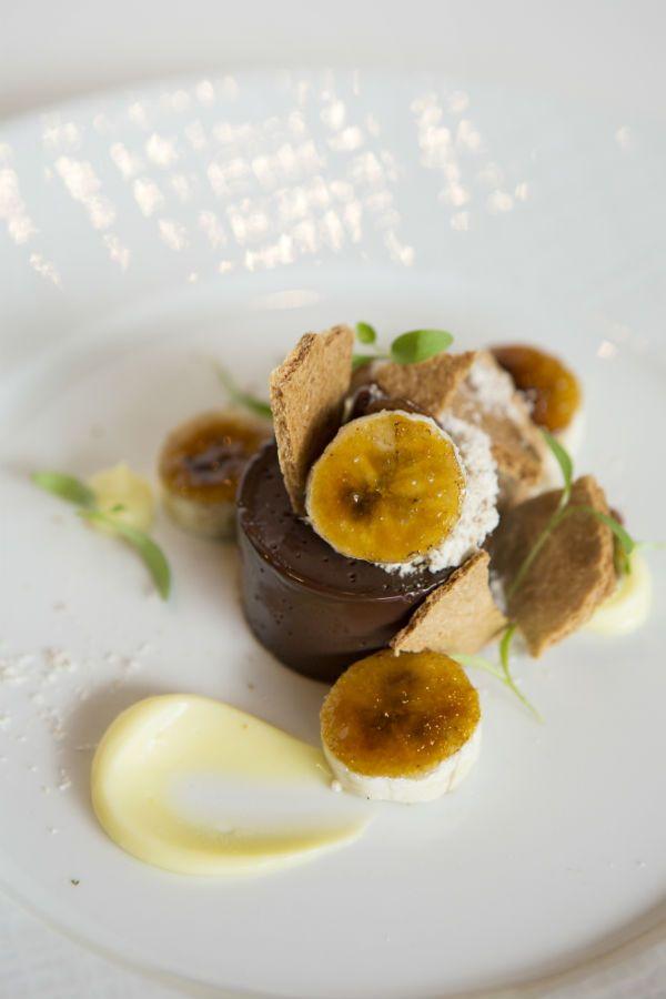Chocolate and Banana Terrine with cashew dacquoise and coconut custard ...