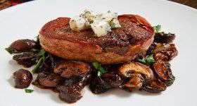 Double Smoked Bacon Wrapped Fillet Mignon with Caramelized Mushroom