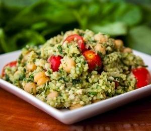 Vegan Three Grain Oil-Free Pesto Salad! (low fat, high protein)