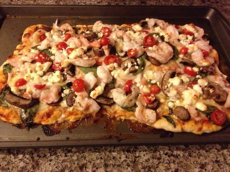 , basil and tomato pizza. Also topped w/ mushrooms, mozzarella, feta ...