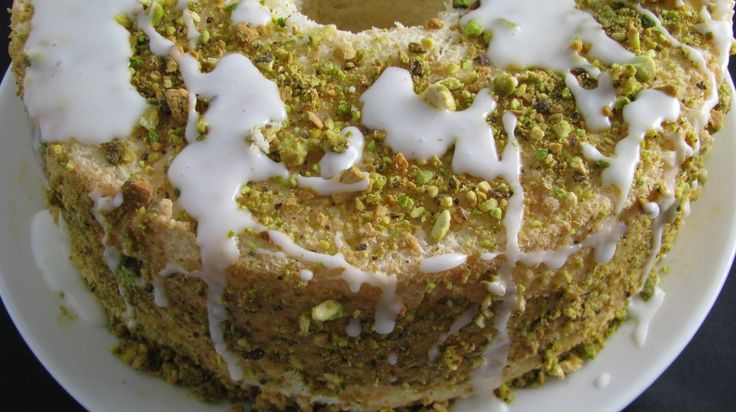 Lime Angel food cake with pistachios and lime glaze...kinda diet food ...