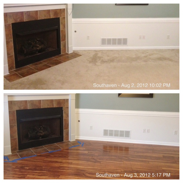 Another before and after of our flooring