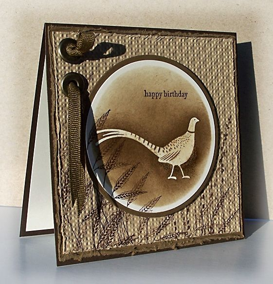 Nice masculine card. Bird embossed in white and chocked or sponged