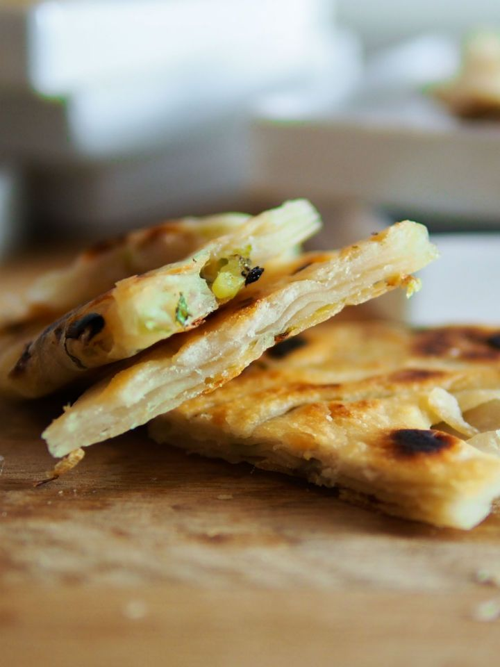 Chinese Scallion Pancakes - flaky, tender, and filled with scallions