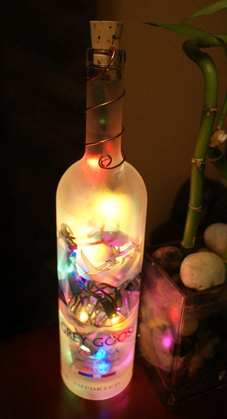 Grey goose vodka bottle light night light christmas for Wine bottle night light diy