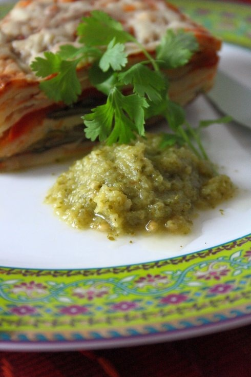 mexican tortilla lasagne with roasted salsa verde. any excuse to put ...