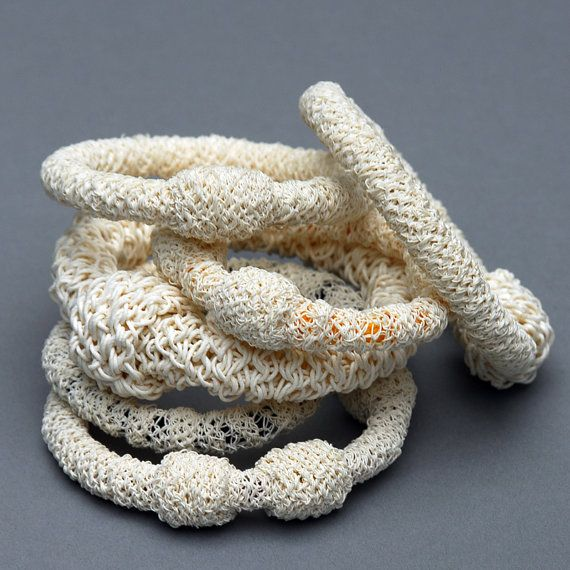 Bracelet made of Paper Yarn over Black Cord - by Linda (Austria, PaperPhine) on Etsy