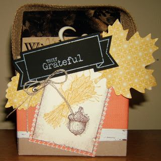 Truly Grateful gift box made with Thankful Tablescape Kit ingredients. Stitchin n Stampin' on Paper: More with the Thankful Tablescape Simply Created Kit