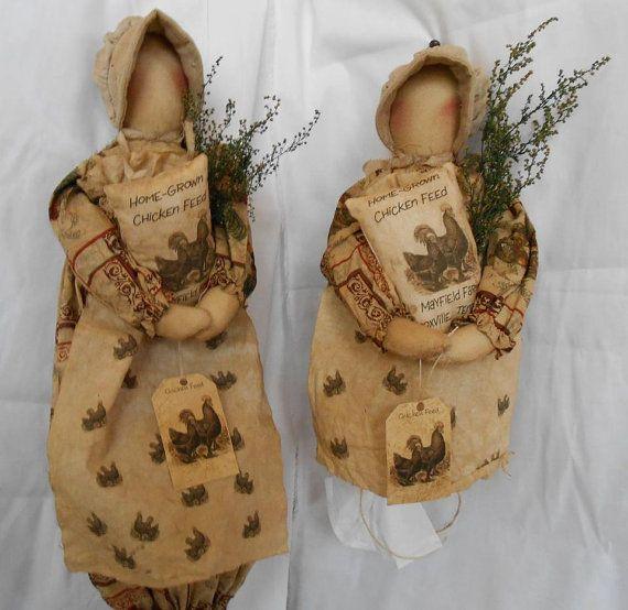 Chicken Print Doll shopping bag holder and tisssue holder