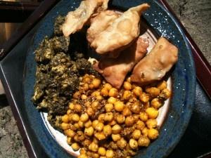 Chicken Tikka, Curry Chickpea Stew, and Vegetable Samosas