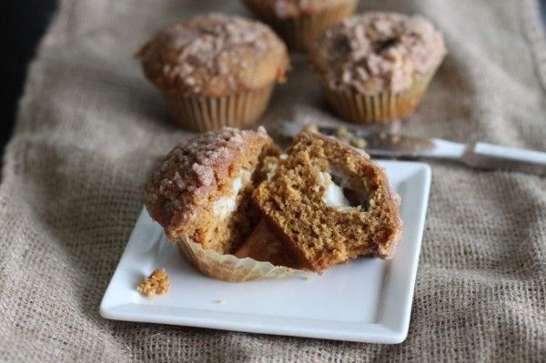 Pumpkin Spice Cream Cheese Muffins via Koko Likes. These babies look ...