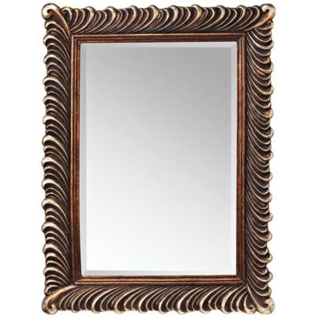 Kichler quill 47 high silver and bronze wall mirror for Floor mirror italian baroque rococo style in lacquer finish