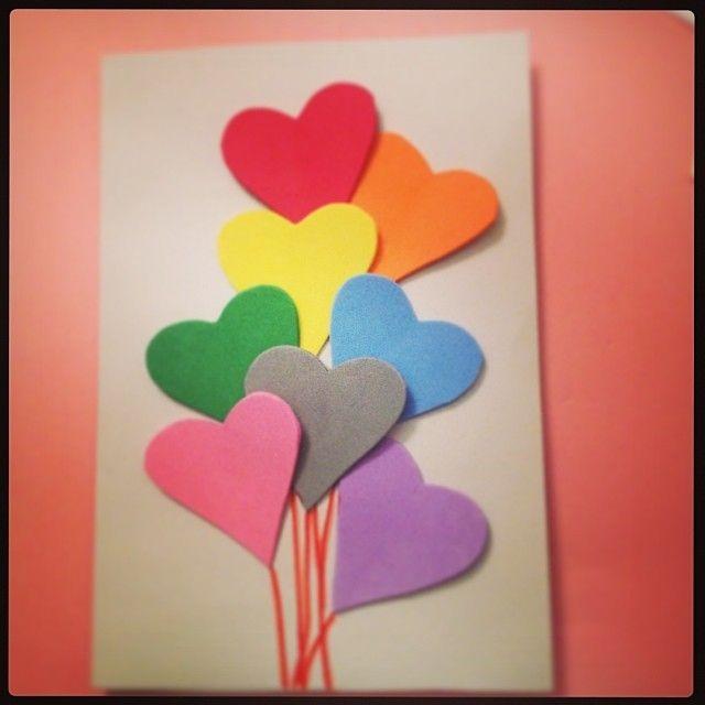 Card corazones de goma eva postal kids craft pinterest - Como hacer un corazon con fotos ...