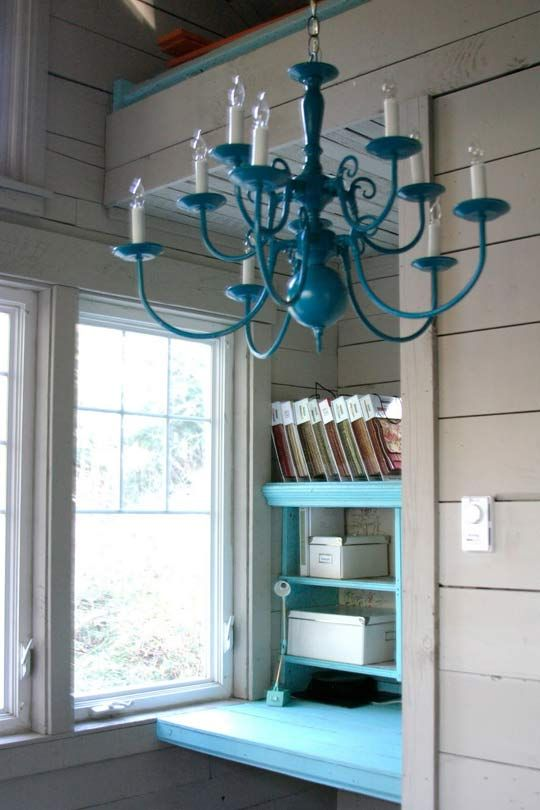 LOVE this painted chandelier. Can you ever go wrong with this color? I think not!
