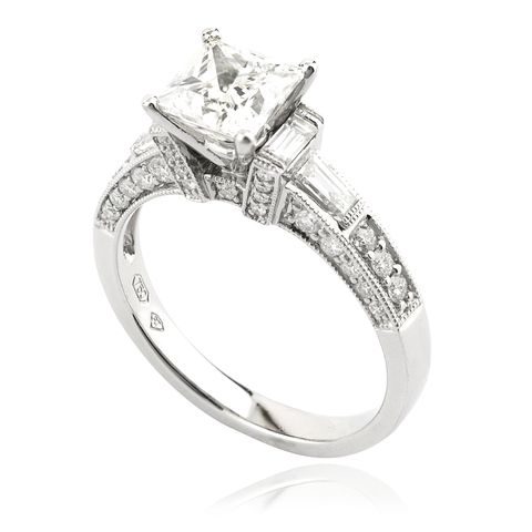 Princess Cut Diamond Ring with Baguette and Taper Cut Diamonds
