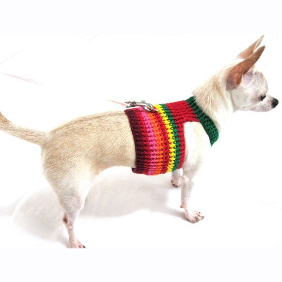 Crochet Xxs Dog Sweater : Dog Harness XXS Dog Clothes Cotton Crochet Comfy Puppy Collar Chihuah ...