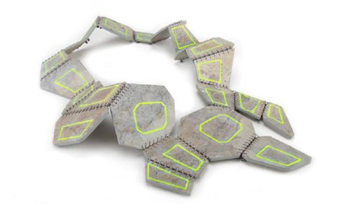 Antje Stolz Necklace: Askew II 2012 Slate veneer, enamel paint, silk thread, lead
