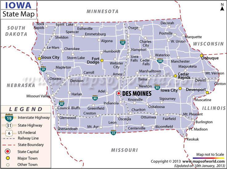 Map Of Iowa  US States  Pinterest