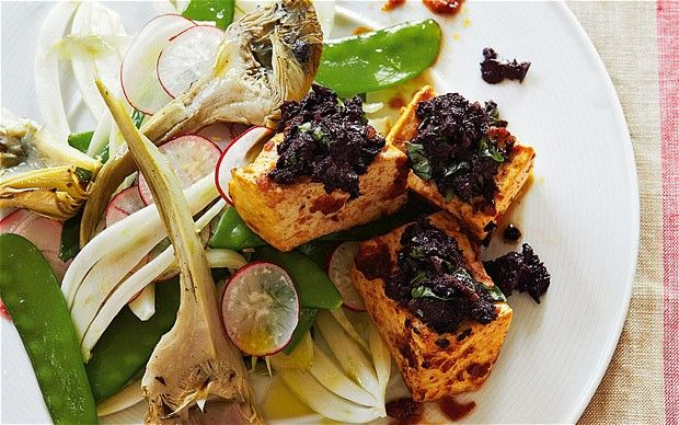 The new vegetarian: grilled tofu and tapenade with a salad of mangeto ...