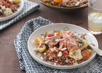 wheat berry and salmon salad. Ingredients: hard red winter wheat ...