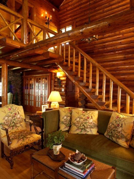 Log Cabin Living Room Future House Pinterest
