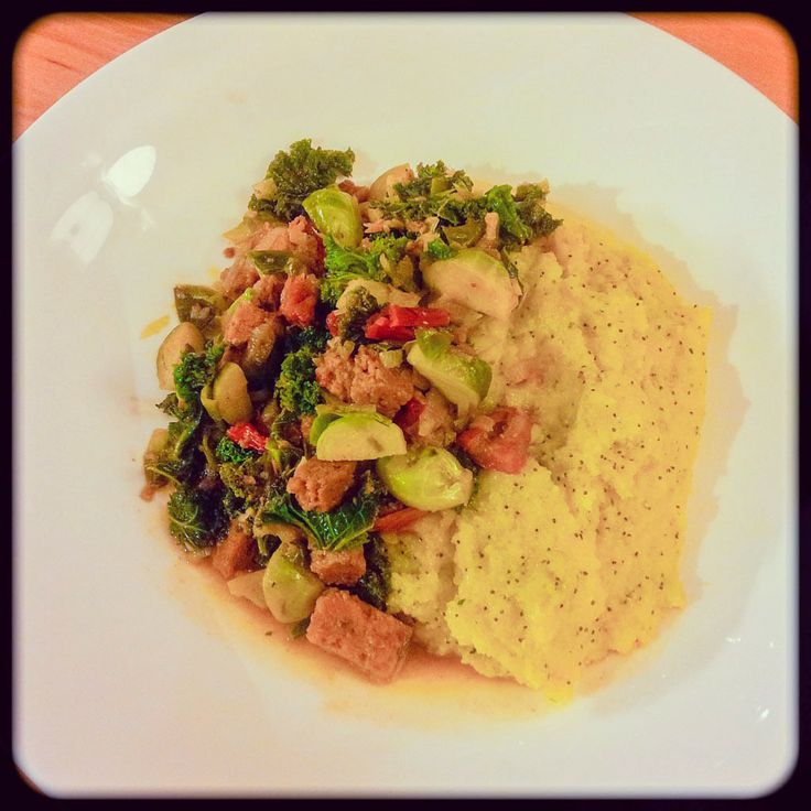 ... , Kale & Sun-Dried Tomatoes served with Soft Poppy-Seed Polenta