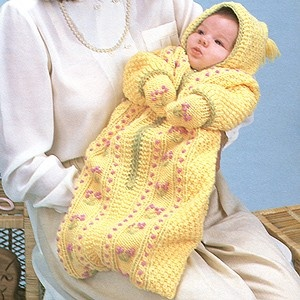 Knitted baby bunting - photo#21