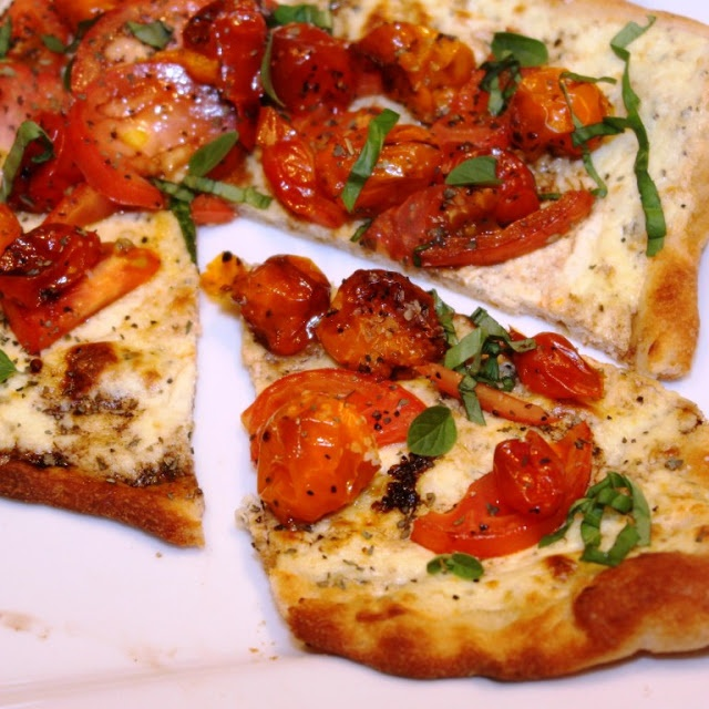 Ricotta Pizza with Fresh and Roasted Tomatoes. Practically a salad for ...