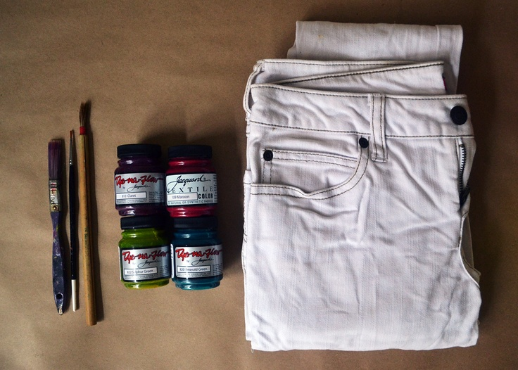 Watercolor Painted Jeans