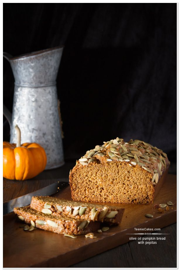 Olive Oil Pumpkin Bread with Pepitas recipe | TeenieCakes.com #evoo
