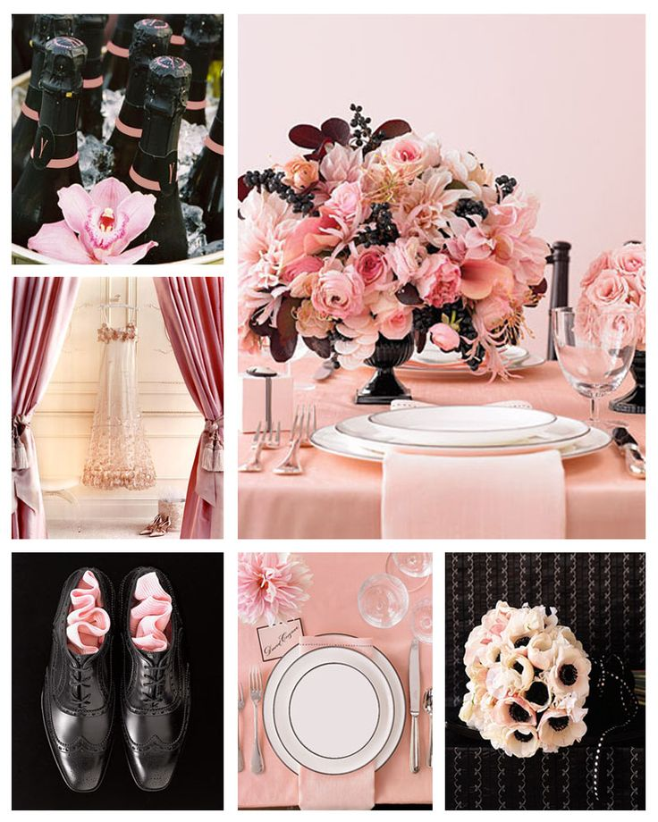 pale pink and black wedding color palletes pinterest