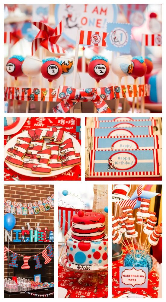 Awesome Dr. Seuss birthday party ideas, including gorgeous cakes, perfect for a boy birthday!