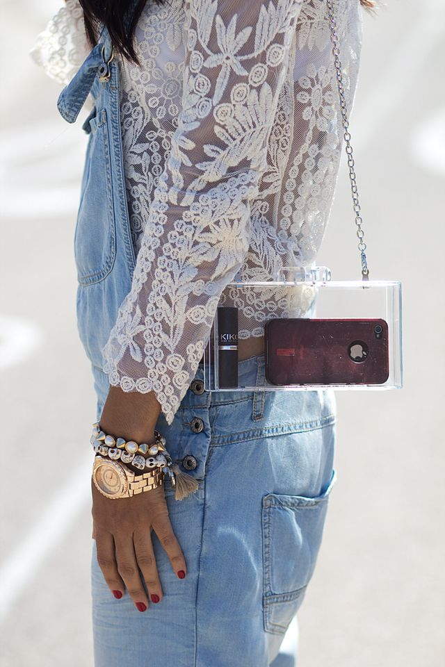 Street deets. Lace and see through bag. Not for the shy but definitely for the cool.