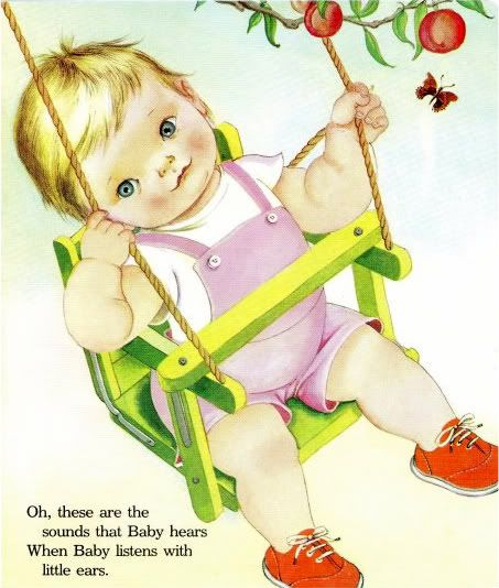 Vintage Baby Illustration by Eloise Wilkin from 'Baby Listens' 1960