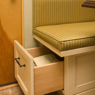 Storage under the booth seats kitchen remodel pinterest - Booth seating kitchen ...