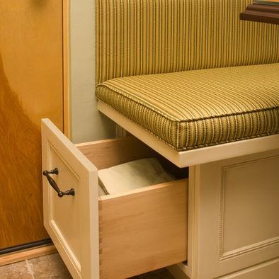 Storage under the booth seats kitchen remodel pinterest - Kitchen booth with storage ...