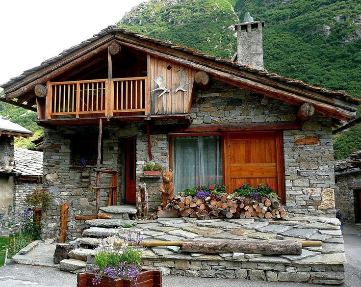 Mountain stone cottage home sweet outside pinterest for Cottage in the mountains