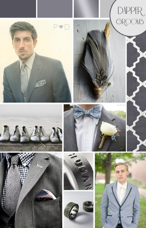 Bridal Inspiration Boards #45 ~ Fifty Shades of Grey...  Dapper Grooms