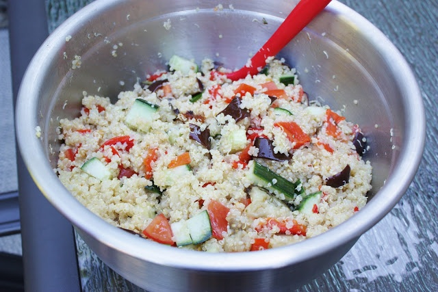 Quinoa Salad with Tomatoes, Cucumber, Baked Rosemary Eggplant, Roasted ...
