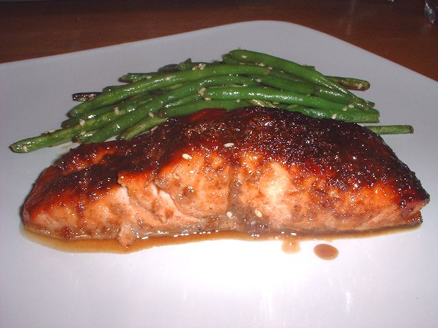 Five-Spice-Glazed Salmon with Sesame Green Beans from Fine Cooking Ma ...