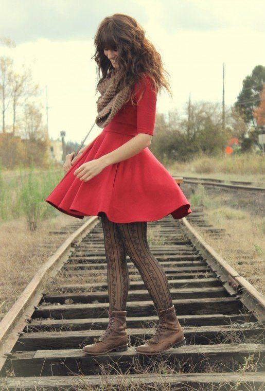 Pretty Red Winter Dress<3 #pretty #winter #red #dress #girl
